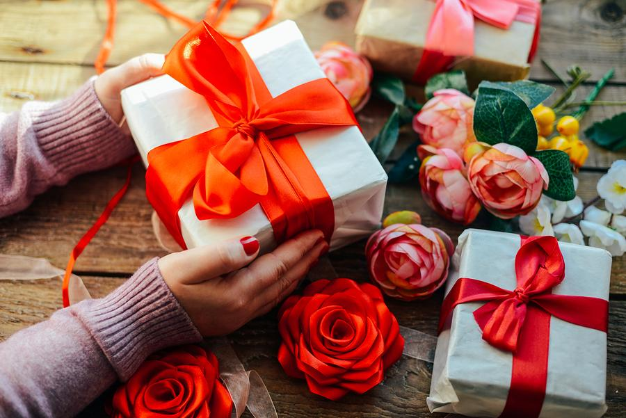Valetines Day roses and chocolates gift for elderly